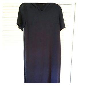 Custom made long knit tunic in navy blue